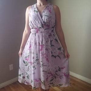 Floral V- Neck Mid-calf length dress
